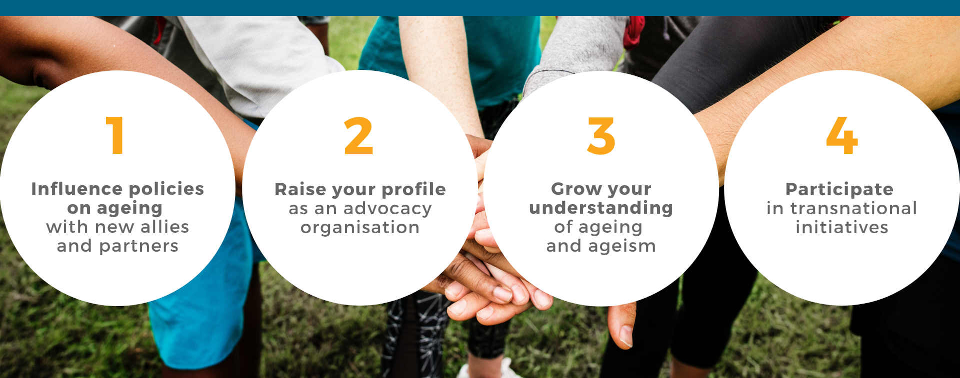 Banner presenting the four main advantages of becoming a member of AGE Platform Europe
