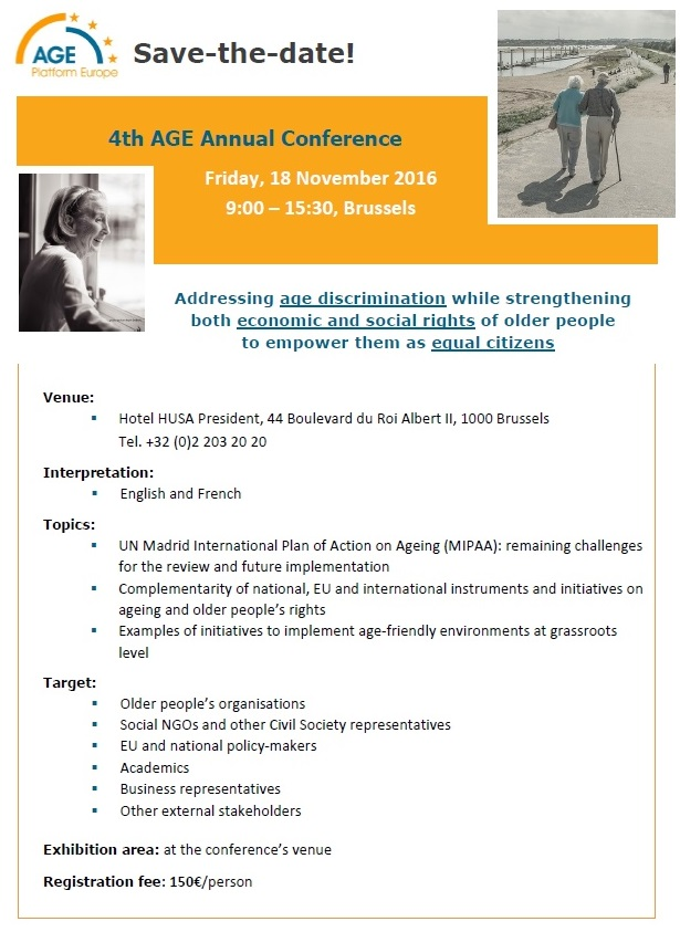 AGE Annual conference 2016 - SAVE THE DATE